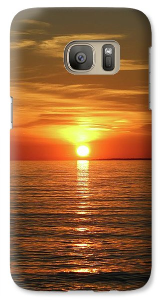Galaxy Case featuring the photograph Orange Sunset Lake Superior by Paula Brown