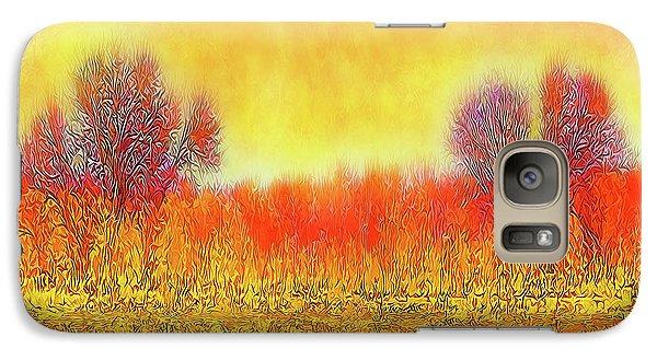 Galaxy Case featuring the digital art Orange Sunset Shimmer - Field In Boulder County Colorado by Joel Bruce Wallach
