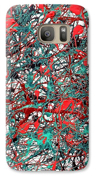 Galaxy Case featuring the painting Orange Turquoise Drip Abstract by Genevieve Esson