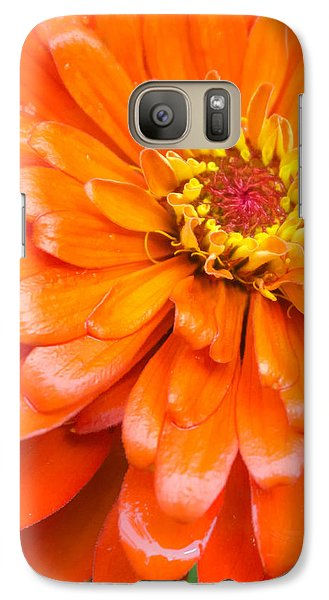 Galaxy Case featuring the photograph Orange Zinnia After A Rain by Jim Hughes