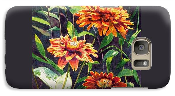 Galaxy Case featuring the painting Orange Zinnias by LeAnne Sowa
