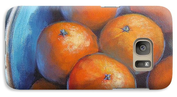 Galaxy Case featuring the painting Oranges On Blue Acrylic Original Painting by Chris Hobel
