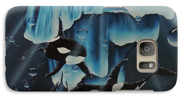 Galaxy Case featuring the painting Orcas Versus Glacier by Dianna Lewis