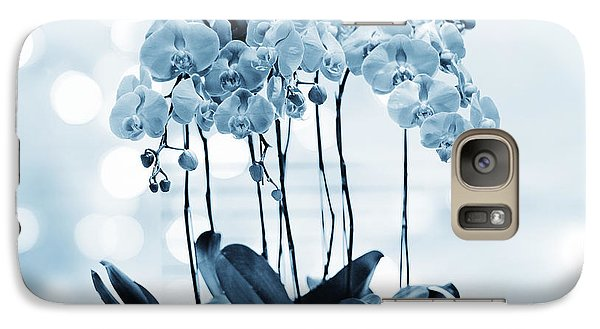 Galaxy Case featuring the photograph Orchid Flowers Blue Tone by Charline Xia