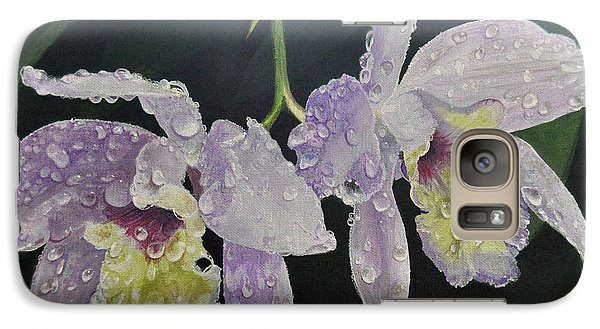 Galaxy Case featuring the painting Orchid Jewels by AnnaJo Vahle
