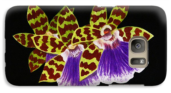 Galaxy Case featuring the painting Orchids - Jumping Jacks With Black Background by Kerri Ligatich