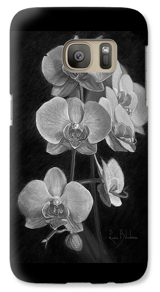 Orchid Galaxy S7 Case - Orchids - Black And White by Lucie Bilodeau