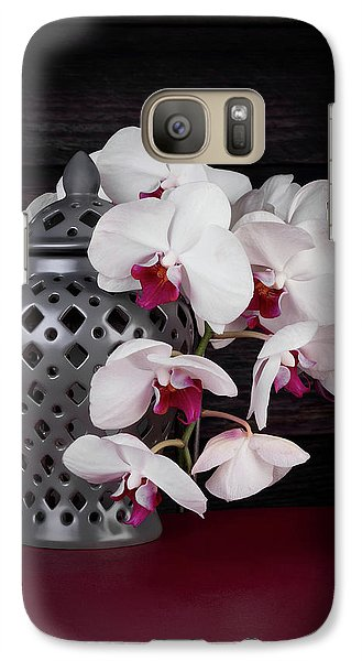 Orchid Galaxy S7 Case - Orchids With Gray Ginger Jar by Tom Mc Nemar