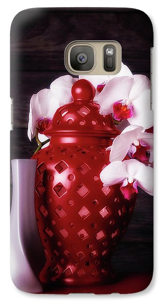 Orchid Galaxy S7 Case - Orchids With Red And Gray by Tom Mc Nemar