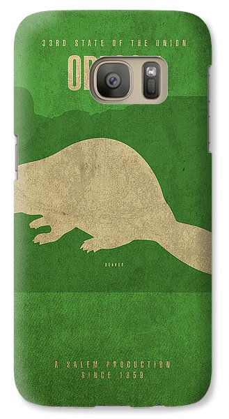 Oregon State Facts Minimalist Movie Poster Art Galaxy S7 Case by Design Turnpike