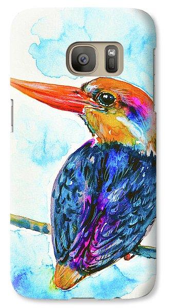 Galaxy Case featuring the painting Oriental Dwarf Kingfisher by Zaira Dzhaubaeva