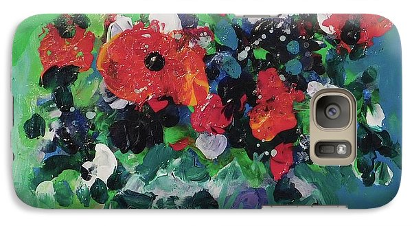 Galaxy Case featuring the painting Original Bouquetaday Floral Painting By Elaine Elliott, Blues And Greens, 12x12, 59.00 Incl. Shippin by Elaine Elliott