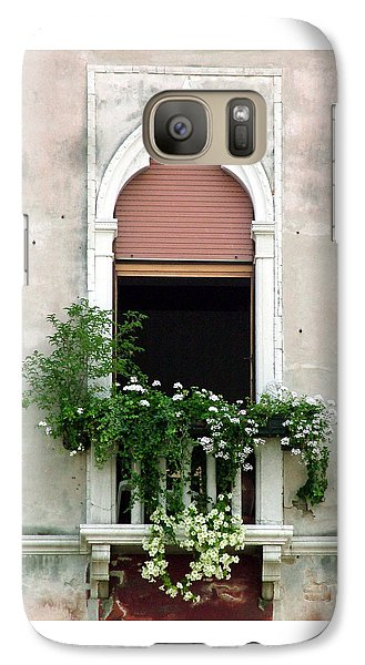 Galaxy Case featuring the photograph Ornate Window With Red Shutters by Donna Corless