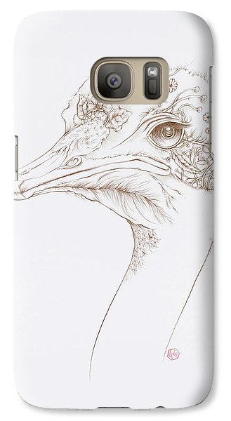 Galaxy Case featuring the drawing Ostrich by Karen Robey