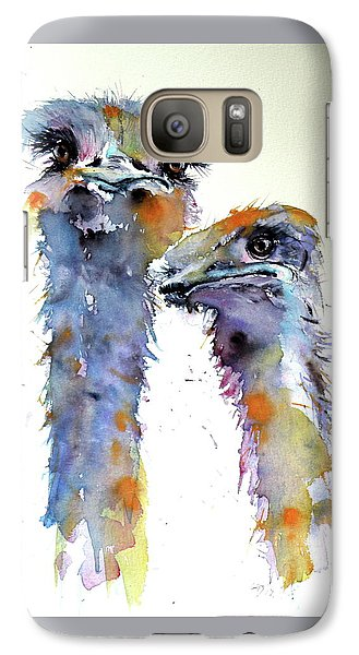 Galaxy Case featuring the painting Ostriches by Kovacs Anna Brigitta