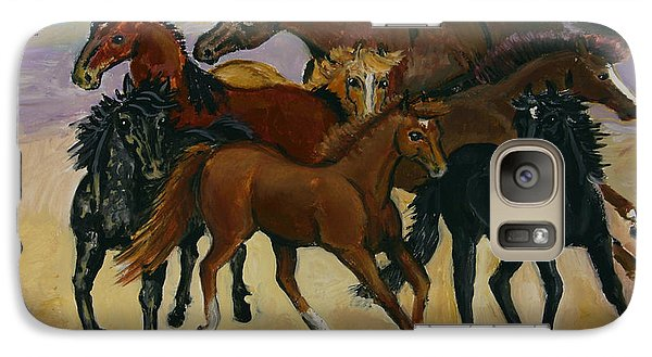 Galaxy Case featuring the painting Our Horses by Dawn Senior-Trask