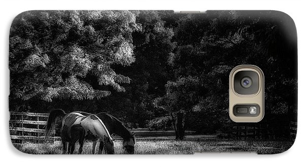 Galaxy Case featuring the photograph Out To Pasture Bw by Mark Fuller