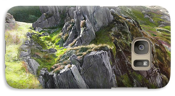 Galaxy Case featuring the painting Outcrop In Snowdonia by Harry Robertson