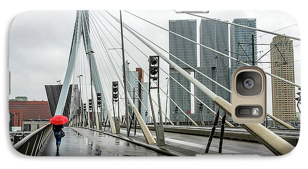 Galaxy Case featuring the photograph Over The Erasmus Bridge In Rotterdam With Red Umbrella by RicardMN Photography