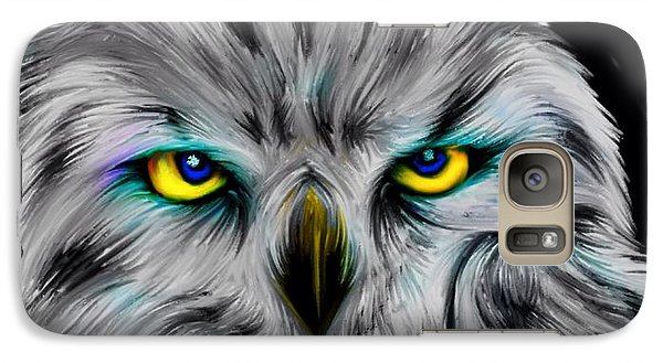 Galaxy Case featuring the drawing Owl Eyes  by Nick Gustafson