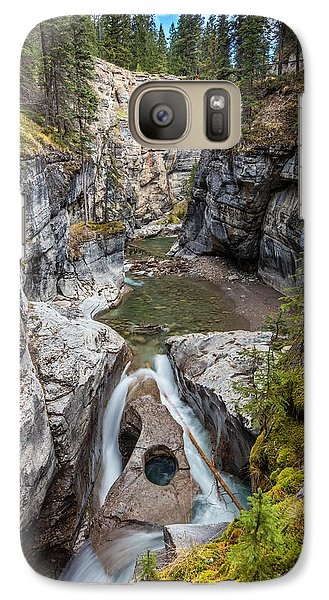 Galaxy Case featuring the photograph Owl Face Falls Of Maligne Canyon by Pierre Leclerc Photography