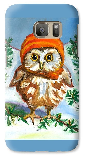 Galaxy Case featuring the painting Owl In Orange Hat by Susan Thomas