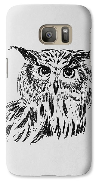 Galaxy Case featuring the drawing Owl Study 2 by Victoria Lakes