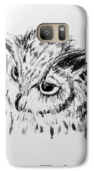 Galaxy Case featuring the drawing Owl Study by Victoria Lakes