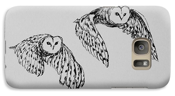 Galaxy Case featuring the drawing Owls In Flight by Victoria Lakes