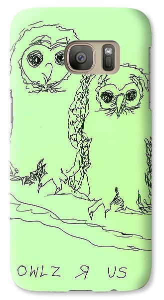 Galaxy Case featuring the drawing Owlz R Us by Denise Fulmer