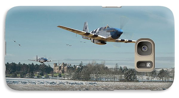 Galaxy Case featuring the digital art P51 Mustang - Bodney Blue Noses by Pat Speirs