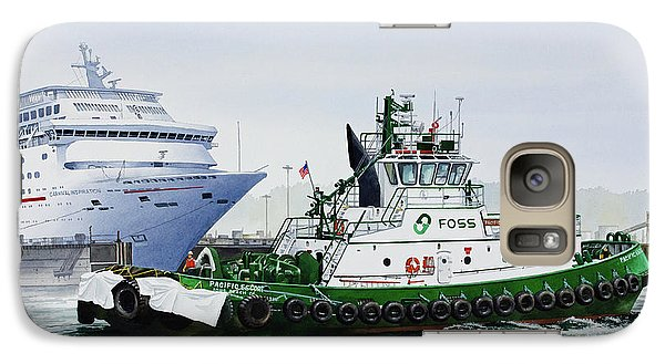 Galaxy Case featuring the painting Pacific Escort Cruise Ship Assist by James Williamson