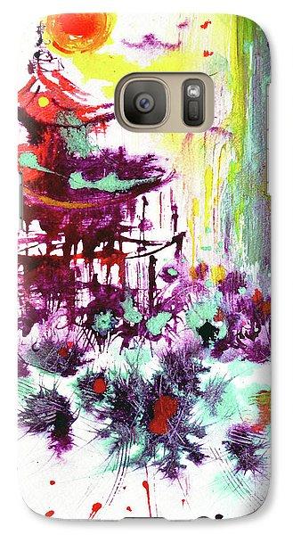 Galaxy Case featuring the painting Pagoda by Zaira Dzhaubaeva