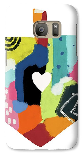 Galaxy Case featuring the mixed media Painted Dreidel With Heart- Art By Linda Woods by Linda Woods