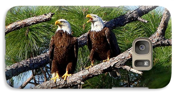 Galaxy Case featuring the photograph Pair Of American Bald Eagle by Barbara Bowen