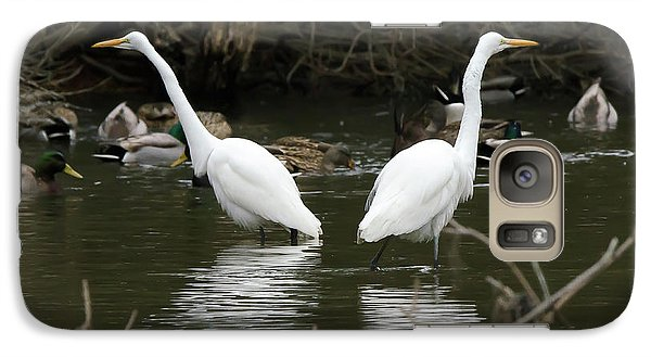 Galaxy Case featuring the photograph Pair Of Egrets by George Randy Bass