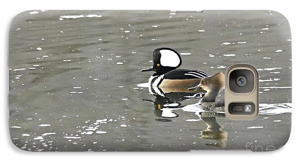 Galaxy Case featuring the photograph Pair Of Hooded Mergansers by Larry Ricker