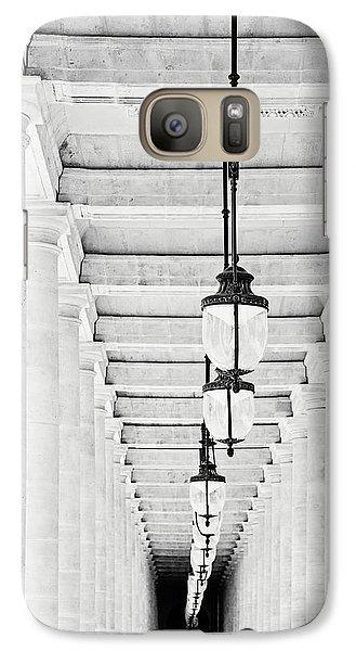 Galaxy Case featuring the photograph Palais-royal Arcade Black And White - Paris, France by Melanie Alexandra Price