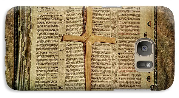 Galaxy Case featuring the digital art Palm Branch Cross And Bible by Randy Steele