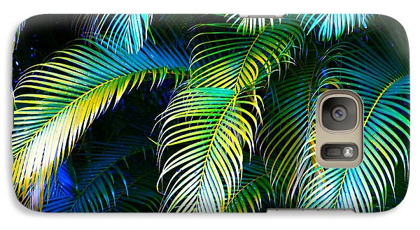 Palm Leaves In Blue Galaxy S7 Case