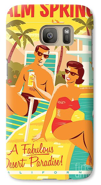 Desert Galaxy S7 Case - Palm Springs Retro Travel Poster by Jim Zahniser