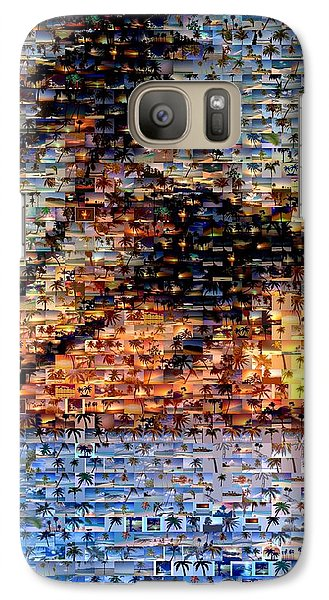 Galaxy Case featuring the mixed media Palm Tree Mosaic by Paul Van Scott