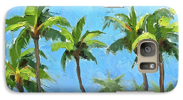 Galaxy Case featuring the painting Palm Tree Plein Air Painting by Karen Whitworth