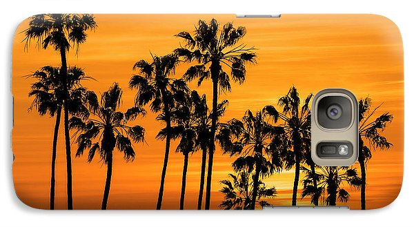 Galaxy Case featuring the photograph Palm Trees At Sunset By Cabrillo Beach by Randall Nyhof