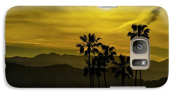 Galaxy Case featuring the photograph Palm Trees At Sunset With Mountains In California by Randall Nyhof