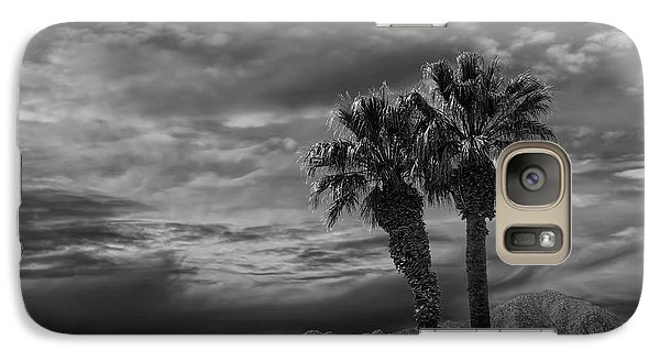 Galaxy Case featuring the photograph Palm Trees By Borrego Springs In Black And White by Randall Nyhof