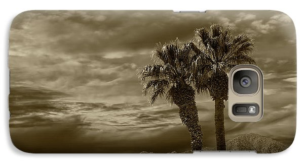 Galaxy Case featuring the photograph Palm Trees By Borrego Springs In Sepia Tone by Randall Nyhof
