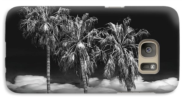 Galaxy Case featuring the photograph Palm Trees In Black And White On Cabrillo Beach by Randall Nyhof