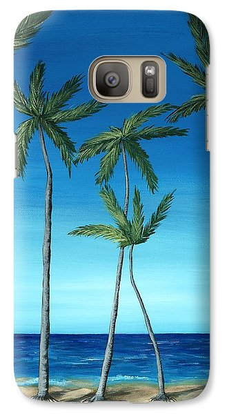 Galaxy S7 Case featuring the painting Palm Trees On Blue by Anastasiya Malakhova
