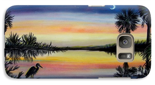 Galaxy Case featuring the painting Palmetto Tree And Moon Low Country Sunset by Patricia L Davidson